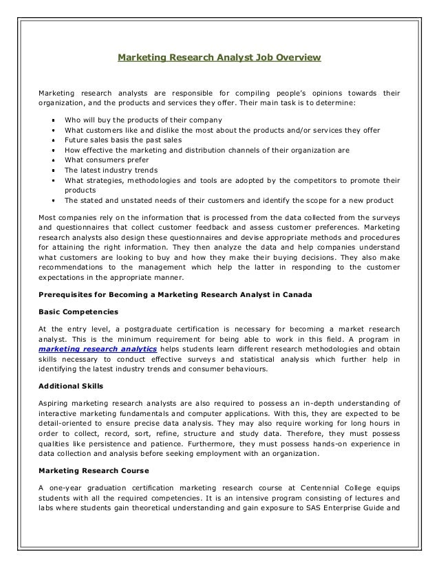 Marketing research analyst job overview