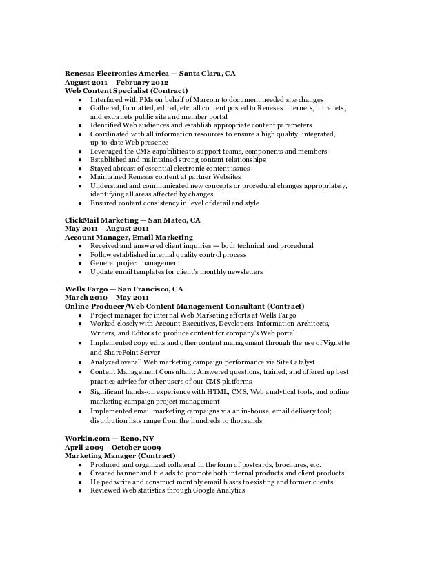 marketing specialist resume description resume for marketing and