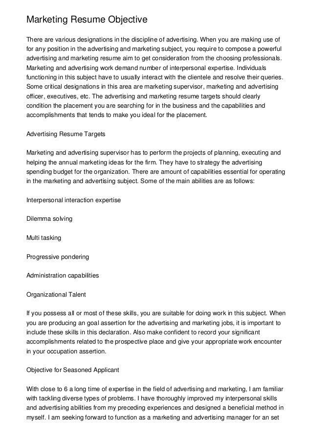 ... Resume Objective Sports Marketing Marketing Resume Objective ...