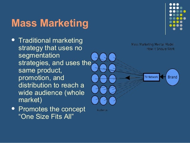 mass or undifferentiated marketing Undifferentiated marketing strategy undifferentiated marketing strategy is a strategy for growing sales that ignores the differences of market segments and attempts to appeal to every prospective customer with a basic, single line of products via mass.