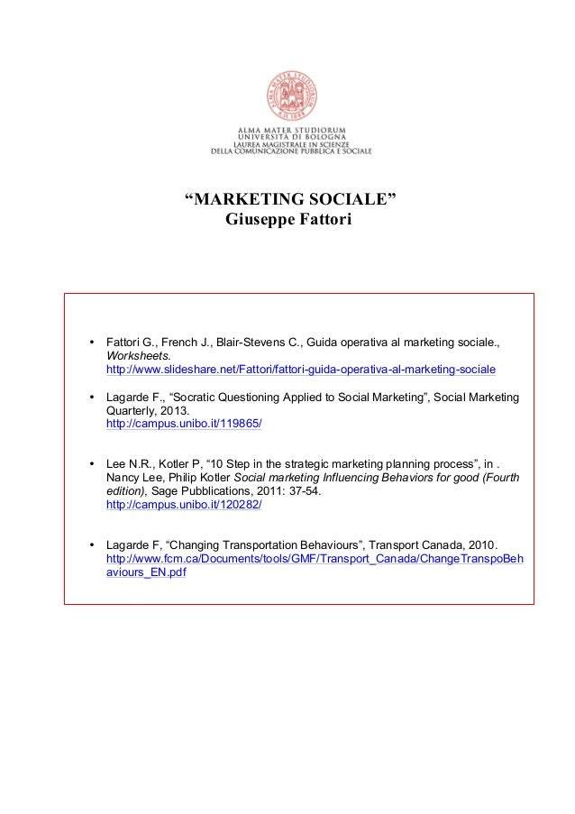 Marketing sociale  2013 worksheet per frequentanti