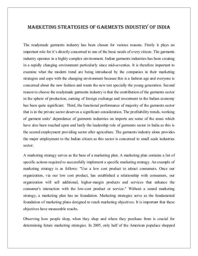 Marketing strategies of garments industry of india