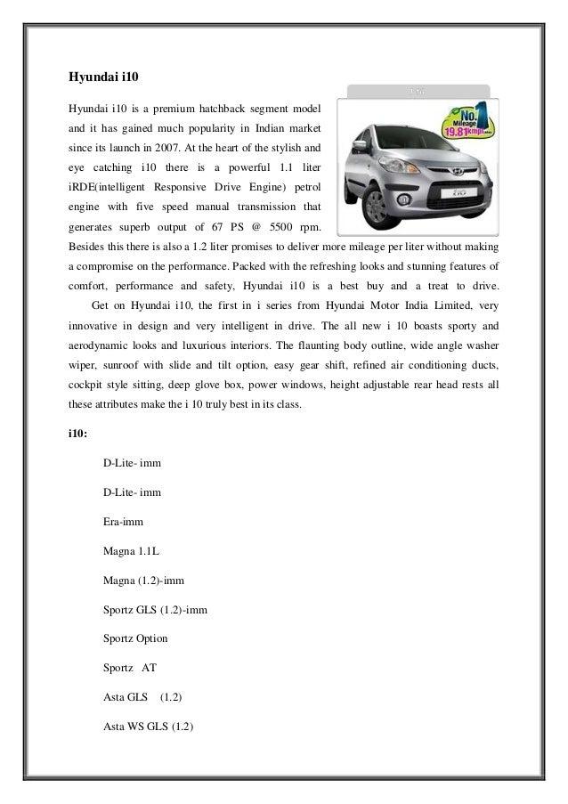 Marketing strategy of hyundai motors in chandigarh