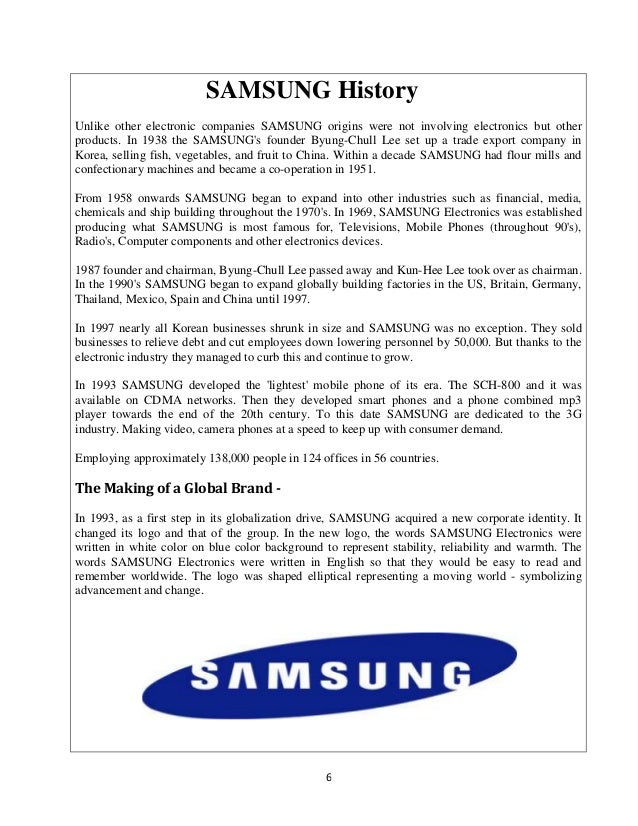 samsung electronics company essay 11 introduction samsung india electronics ltd is a subsidiary of samsung electronics corporation headquartered in seoul, korea the company was.