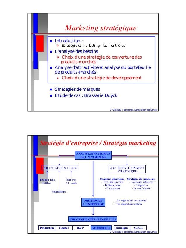 Dr Véronique Boulocher, Edhec Business School Marketing stratégique n Introduction : Ø Stratégie et marketing : les fronti...