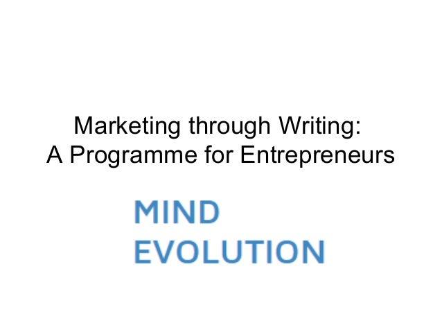 Marketing through Writing: A Programme for Entrepreneurs