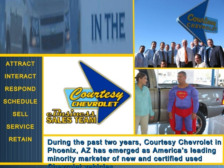 ATTRACT INTERACT RESPOND SCHEDULE SELL SERVICE RETAIN During the past two years, Courtesy Chevrolet in Phoenix, AZ has eme...