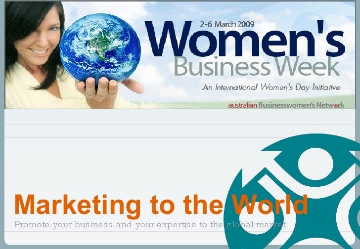 Marketing to the World webinar