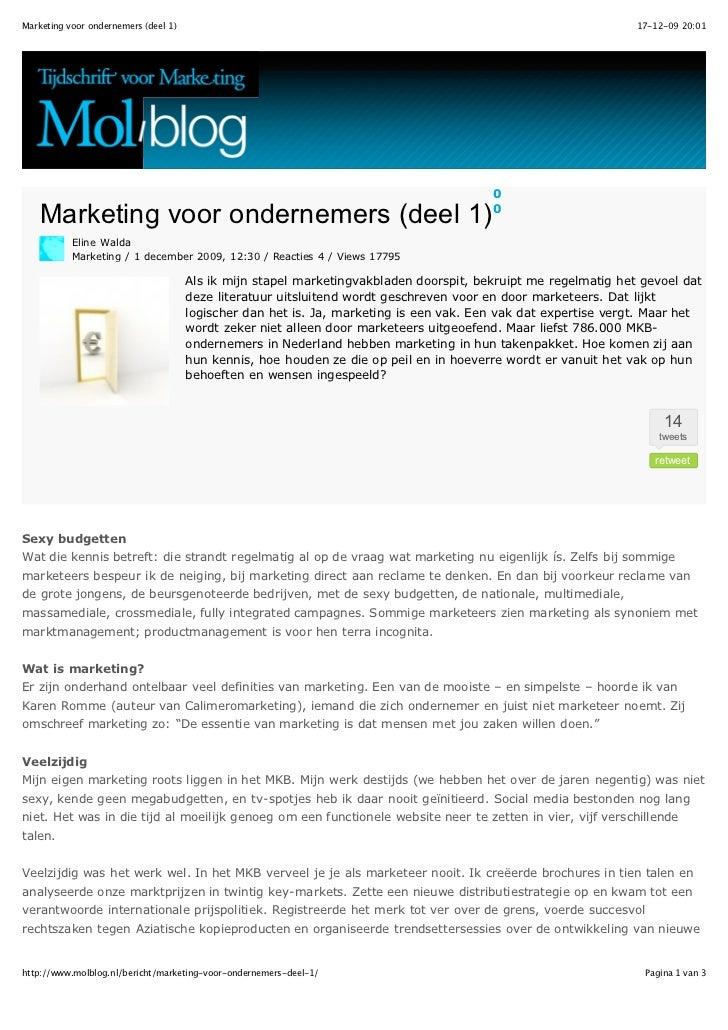 Marketing voor ondernemers 1   intro