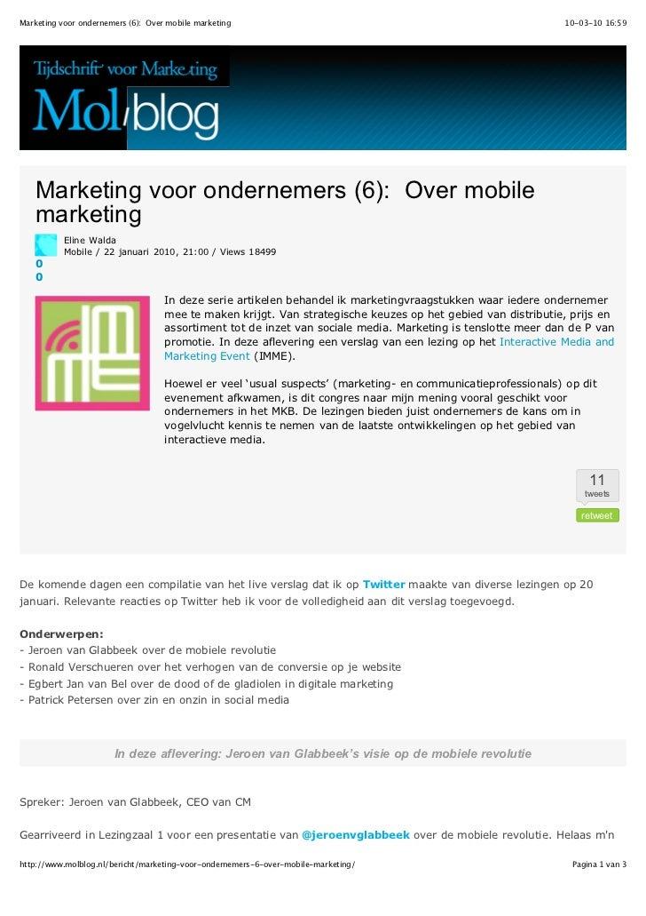 Marketing voor ondernemers (6): Over mobile marketing                                                         10-03-10 16:...