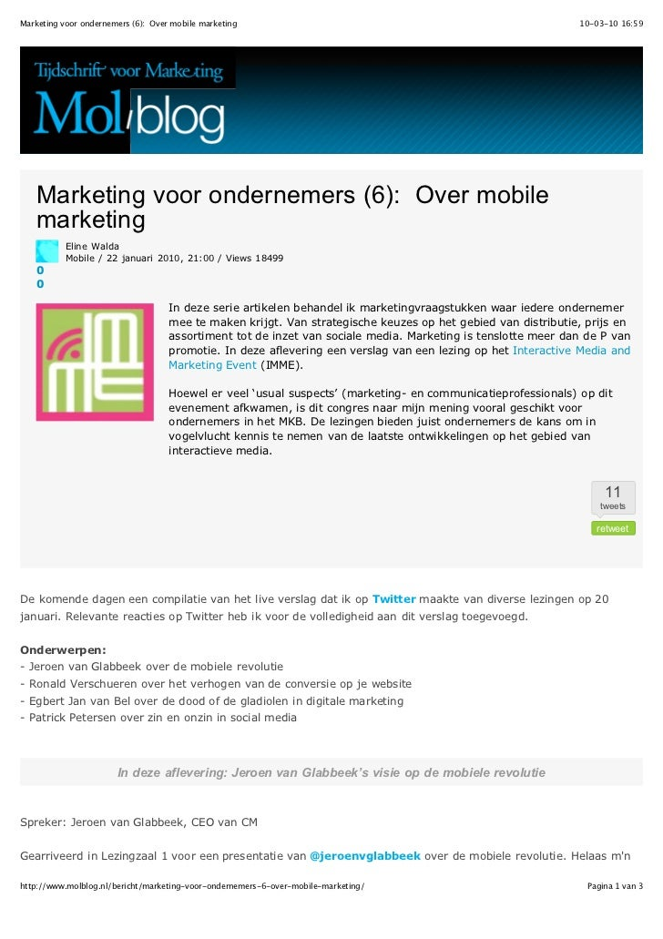 Marketing voor ondernemers 6   over mobile marketing