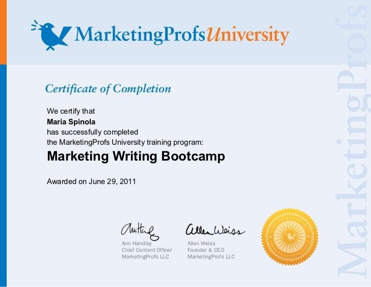 "Maria Spínola ""Marketing Writing Bootcamp"" Certificate - MarketingProfs University Training Program"