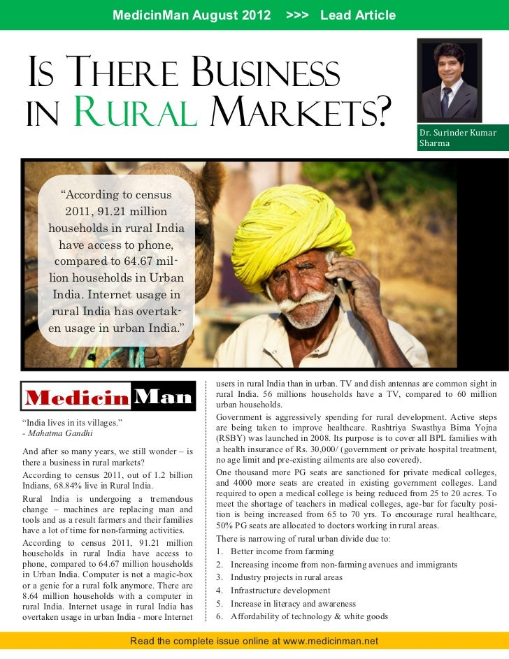 MedicinMan August 2012                    >>> Lead ArticleIS THERE BUSINESSIN RURAL MARKETS?                              ...