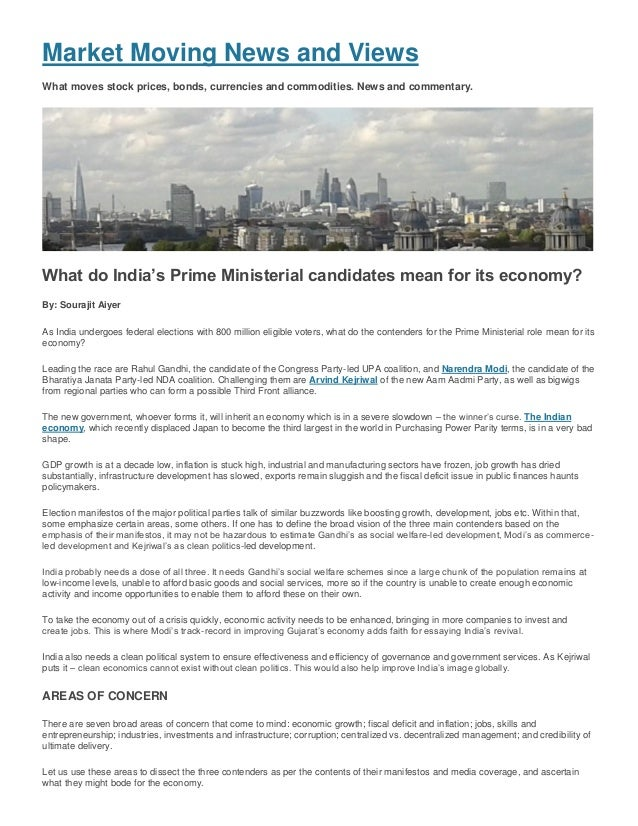 Sourajit Aiyer - www.MarketMoving.Info, UK - What India's leading PM Candidates mean for its economy, May 2014
