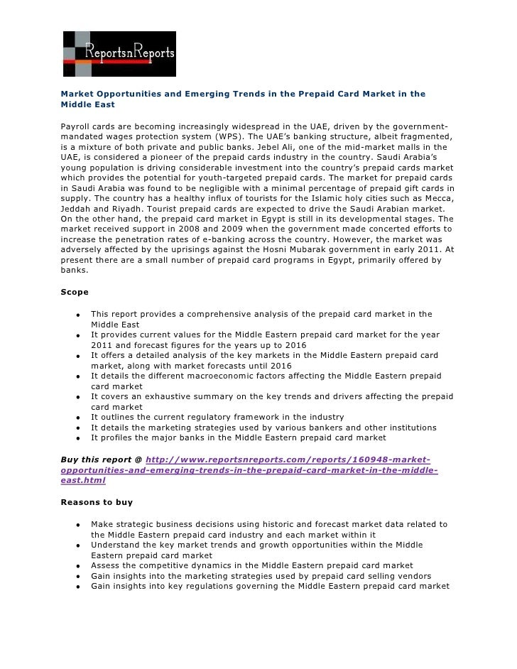 Market opportunities and emerging trends in the prepaid card market in the middle east