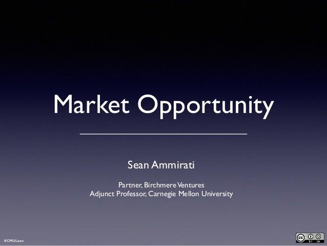 Market Opportunity - Lean Entrepreneurship Carnegie Mellon