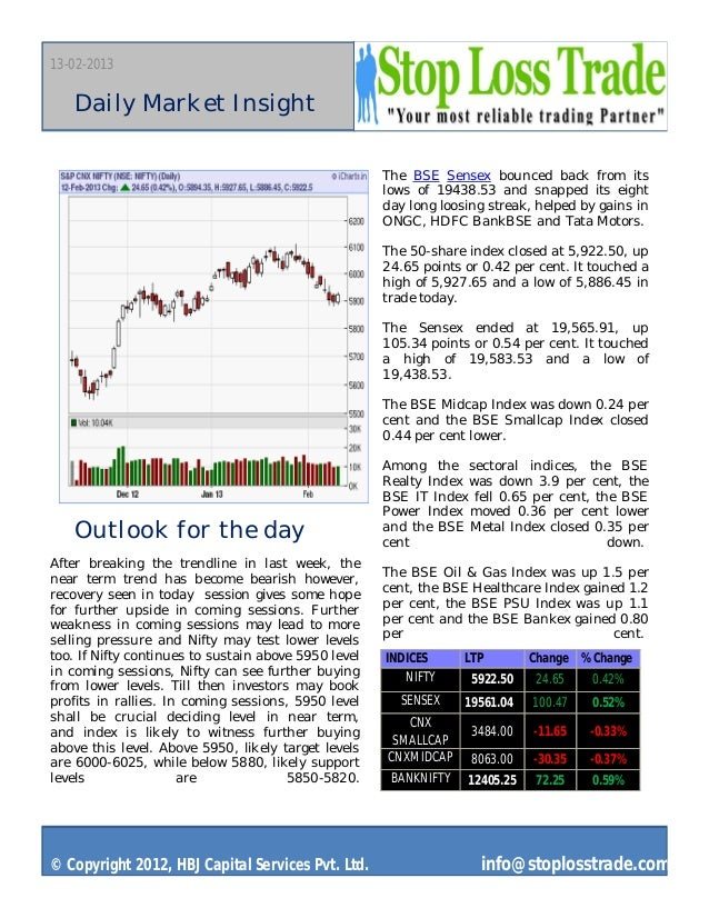 13-02-2013   Daily Market Insight                                                      The BSE Sensex bounced back from it...
