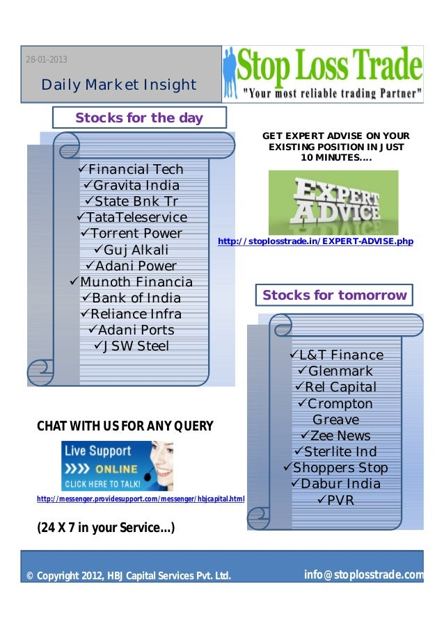 28-01-2013   Daily Market Insight             Stocks for the day                                                          ...