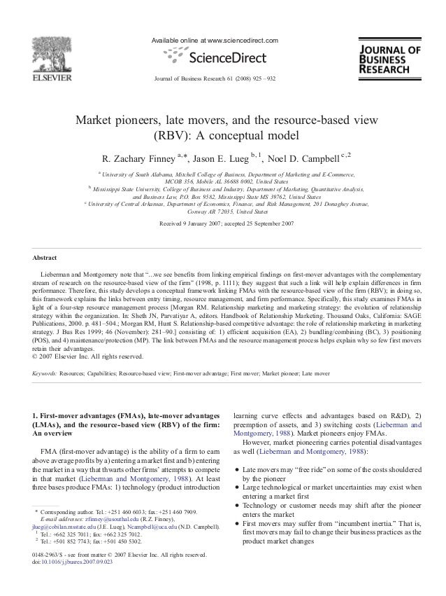 Market pioneers, late movers, and the resource based view (rbv)- a conceptual model