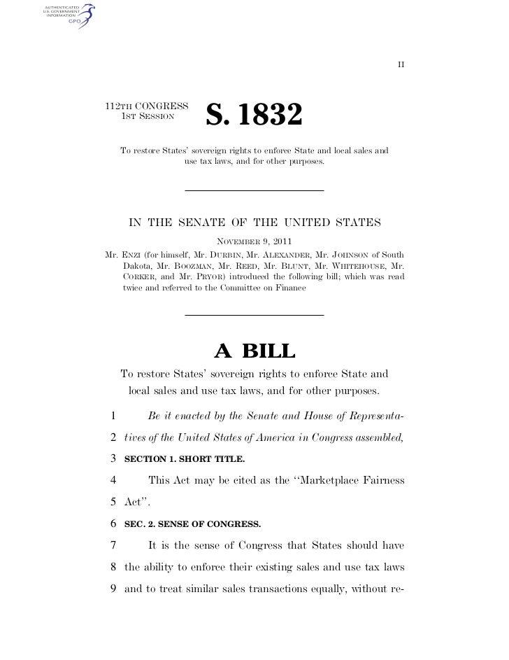 Marketplace Fairness Act, Senate Bill 1832