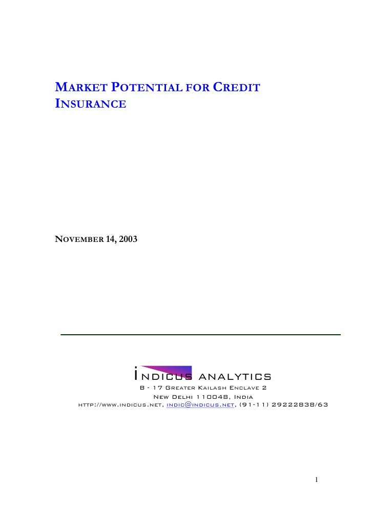 Market Potential For Credit Insurance