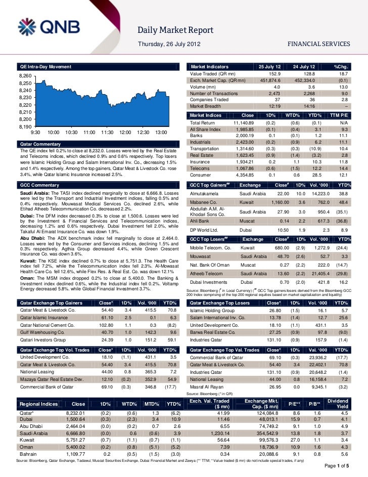 Daily Market Report                                                                           Thursday, 26 July 2012      ...