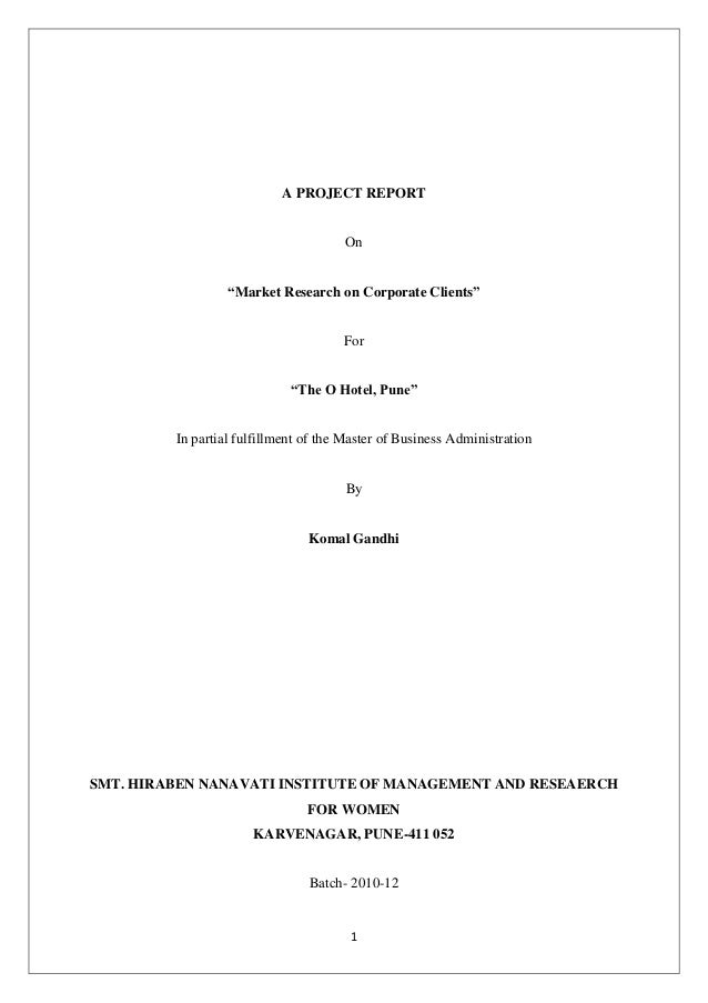 """A PROJECT REPORT                                      On                  """"Market Research on Corporate Clients""""          ..."""