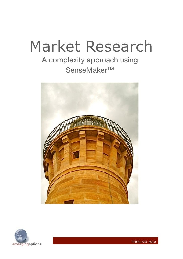 Market Research  A complexity approach using        SenseMakerTM                               FEBRUARY 2010