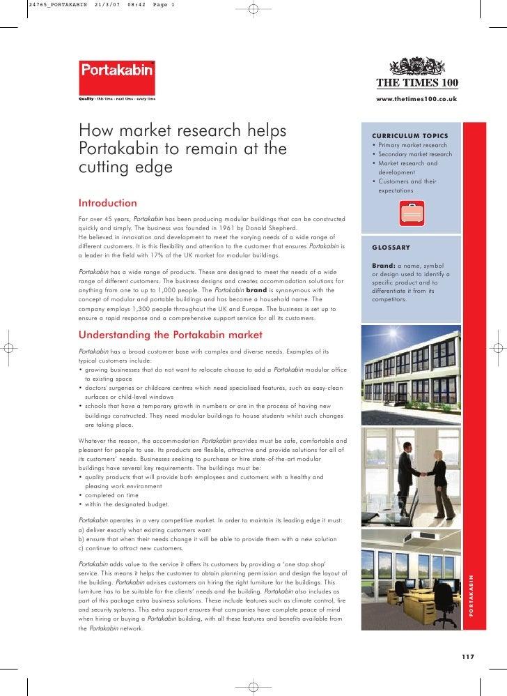portakabin how market research helps portakabin Case of portakabin 1 marketing plan sample report homework help market research goldcancerian lsl.