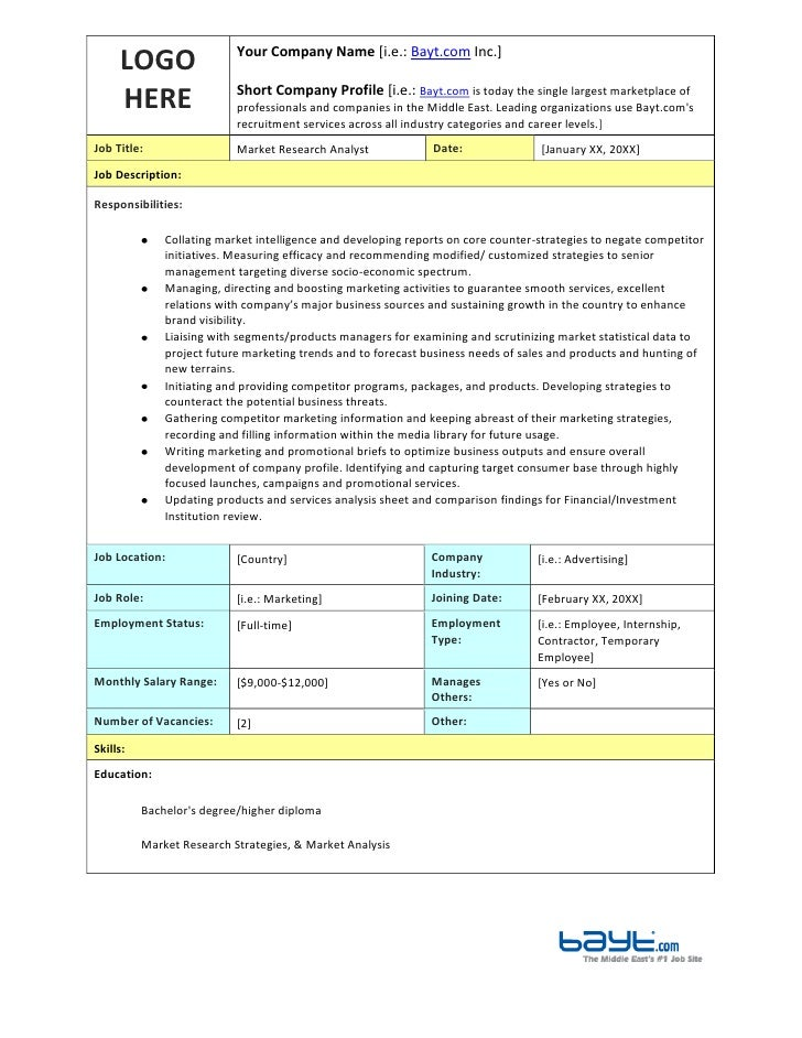 Market Research Analyst Job Description Template by Bayt.com