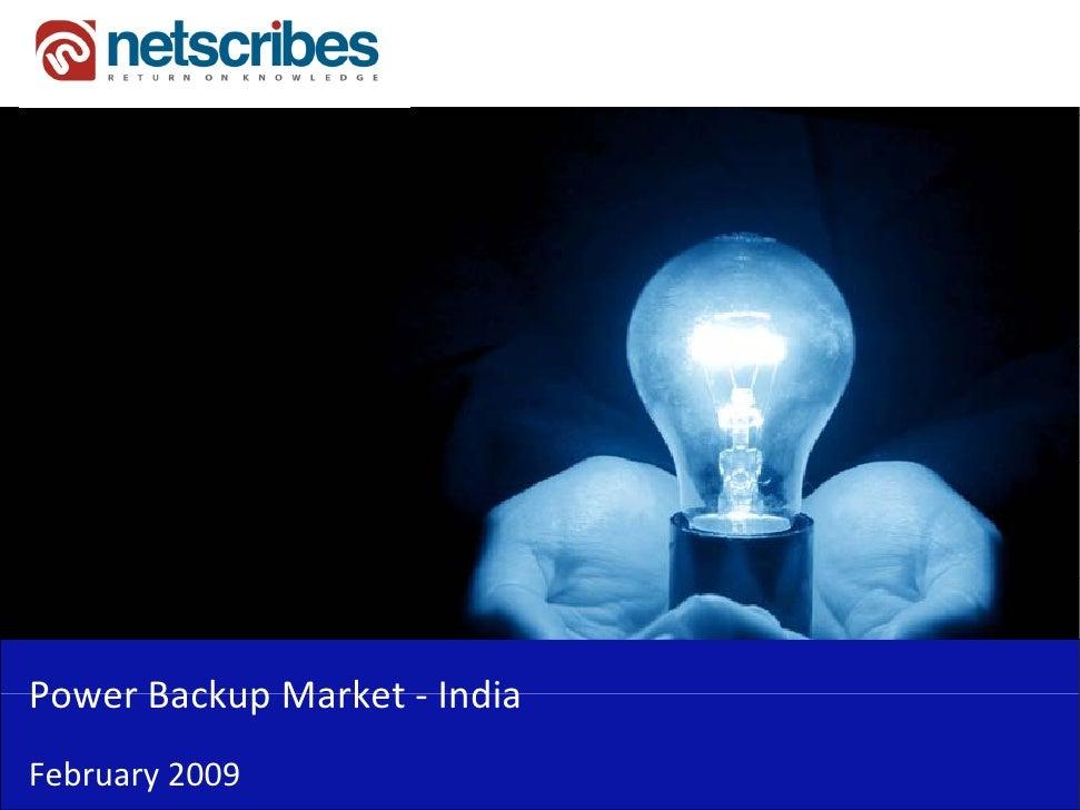 PowerBackupMarket‐Power Backup Market IndiaFebruary2009