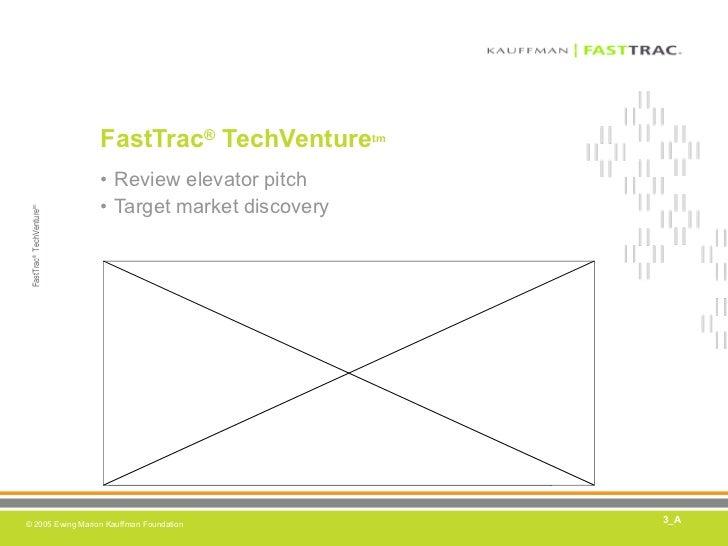 FastTrac ®  TechVenture tm <ul><li>Review elevator pitch </li></ul><ul><li>Target market discovery </li></ul>3_A