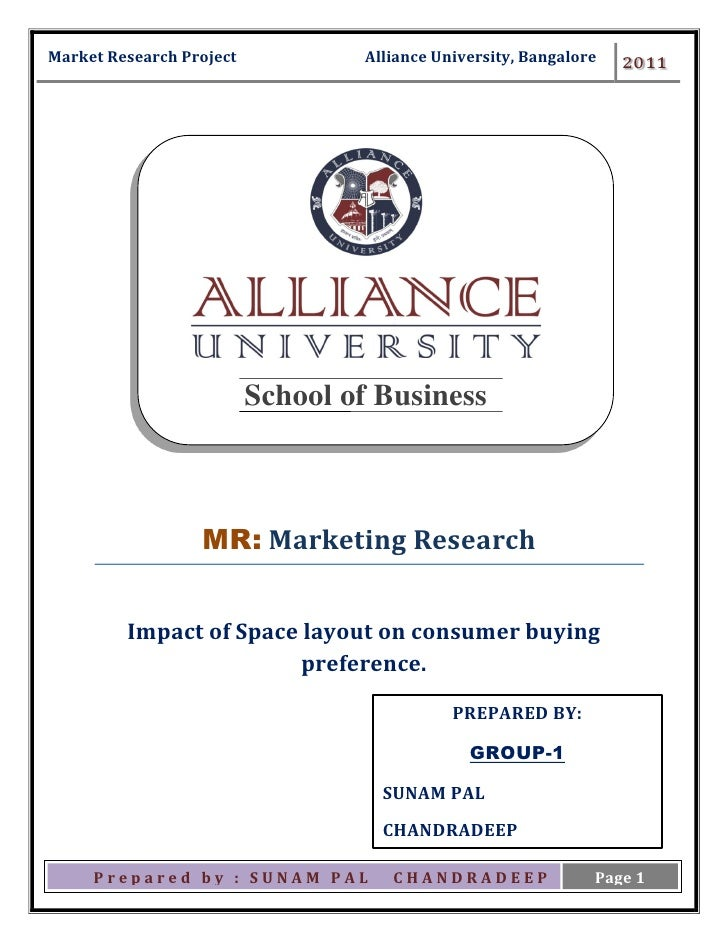 Ma Market Research Project           Alliance University, Bangalore   2011                             School of Business ...