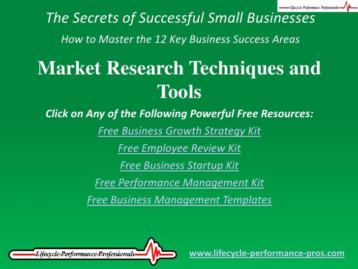 The Secrets of Successful Small Businesses<br />How to Master the 12 Key Business Success Areas<br />Market Research Techn...