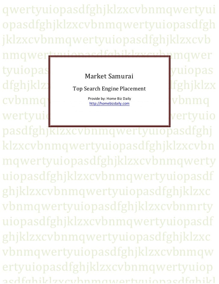 Market Samurai   Top Search Engine Placement