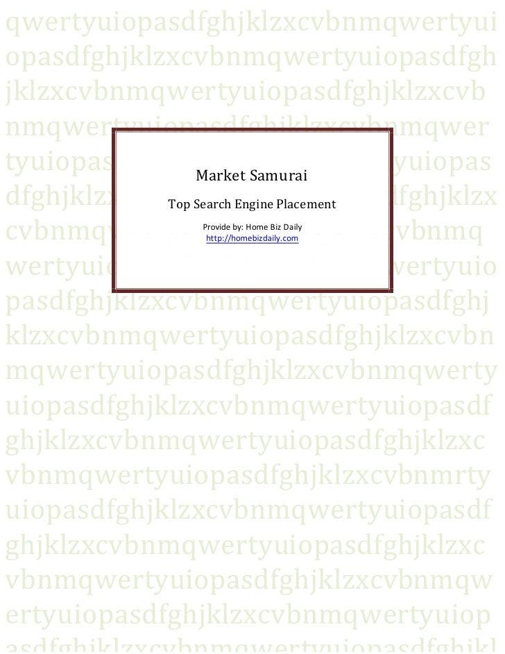 Market Samurai   Top Search Engine Placement