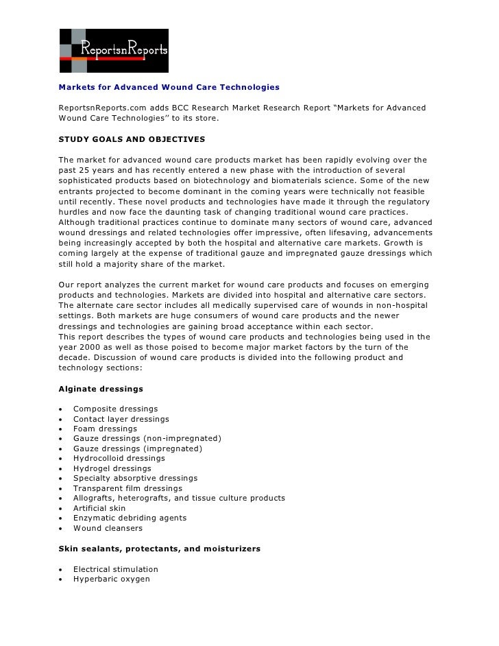"""Markets for Advanced Wound Care TechnologiesReportsnReports.com adds BCC Research Market Research Report """"Markets for Adva..."""
