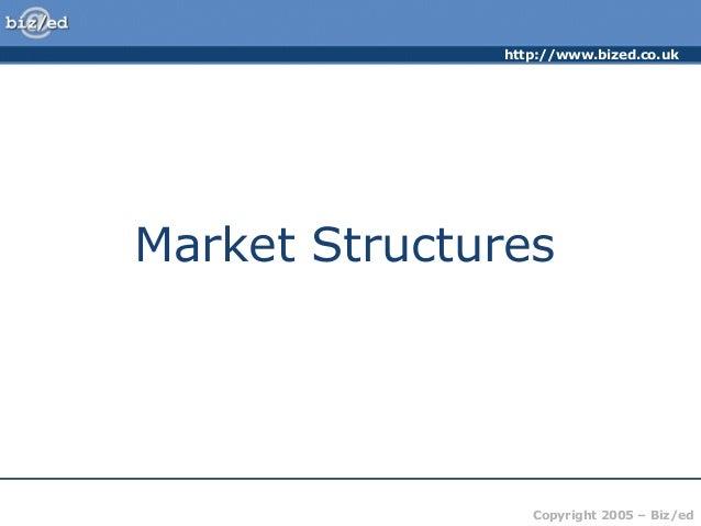 http://www.bized.co.ukCopyright 2005 – Biz/edMarket Structures