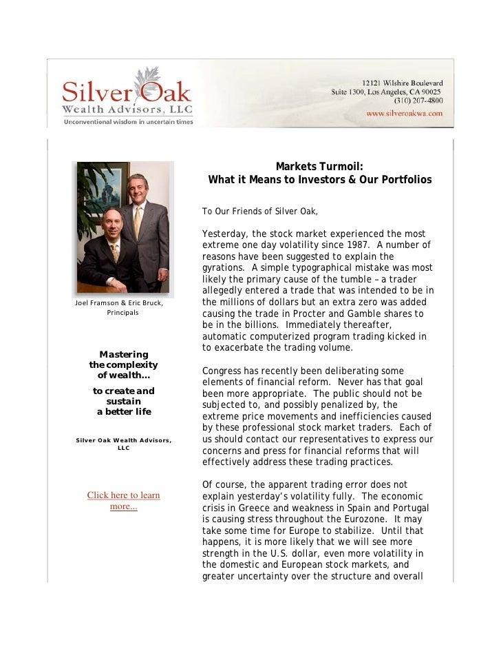 Markets Turmoil   What It Means To Investors & Our Portfolios 052010