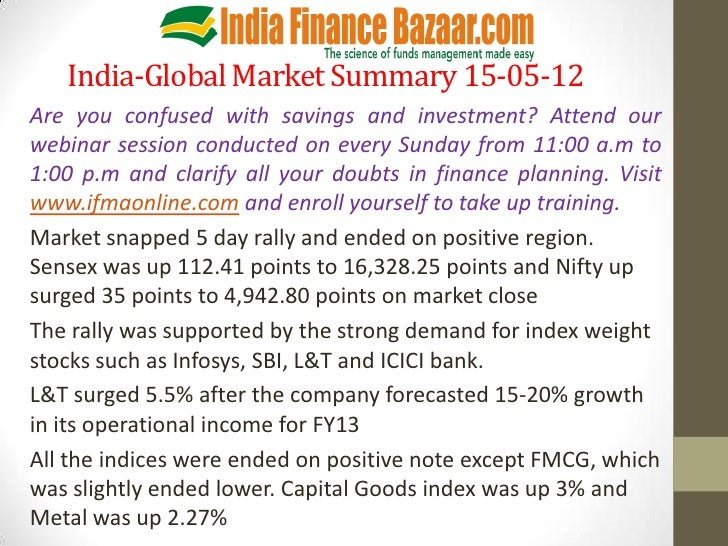 India-Global Market Summary 15-05-12Are you confused with savings and investment? Attend ourwebinar session conducted on e...