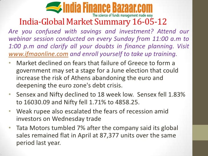 India-Global Market Summary 16-05-12Are you confused with savings and investment? Attend ourwebinar session conducted on e...