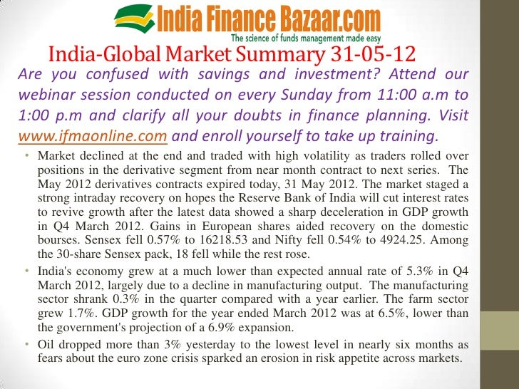India-Global Market Summary 31-05-12Are you confused with savings and investment? Attend ourwebinar session conducted on e...