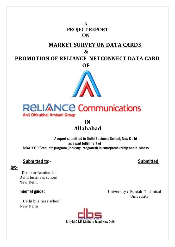 Market survey on data cards and promotion of reliance net connect data card with special reference to reliance communications ltd