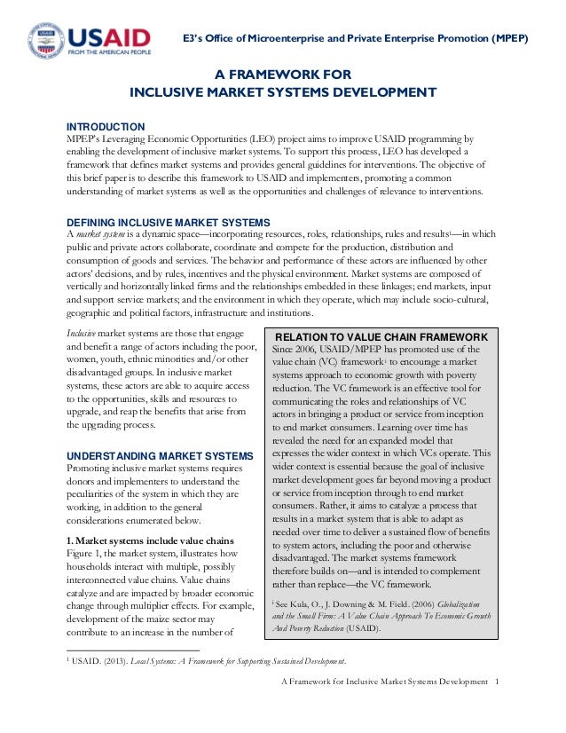 E3's Office of Microenterprise and Private Enterprise Promotion (MPEP) A Framework for Inclusive Market Systems Developmen...