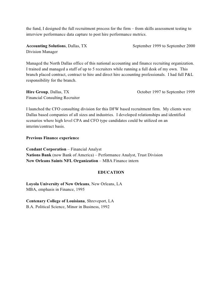 It contract recruiter resume