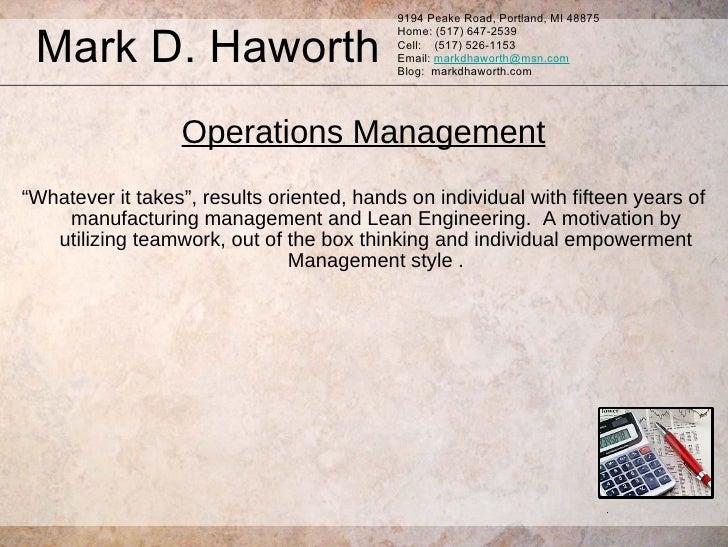 Mark D. Haworth Resume 4-16-09