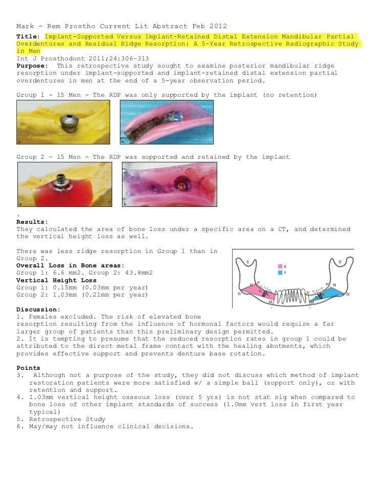 Mark - Rem Prostho Current Lit Abstract Feb 2012                                        ELsyad/HabibTitle: Implant-Support...