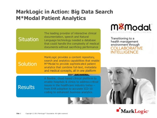 MarkLogic in Action: Big Data SearchM*Modal Patient Analytics                                     The leading provider of ...