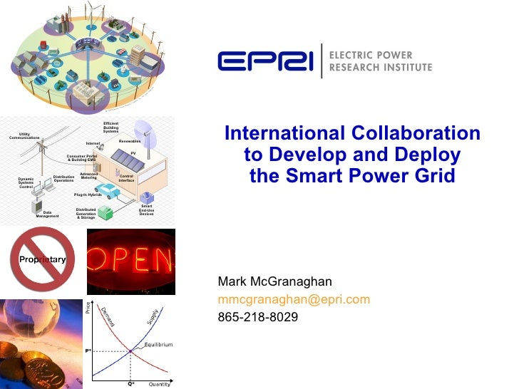 Mark McGranaghan [email_address] 865-218-8029 International Collaboration to Develop and Deploy the Smart Power Grid