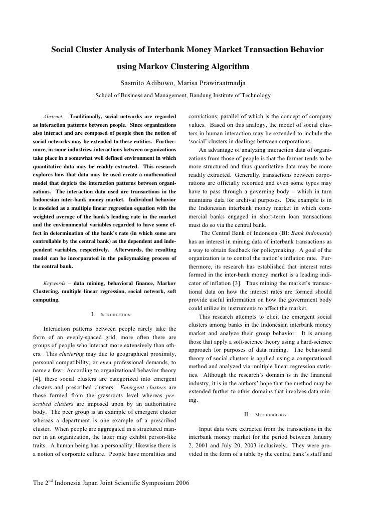 Social Cluster Analysis of Interbank Money Market Transaction Behavior                                      using Markov C...